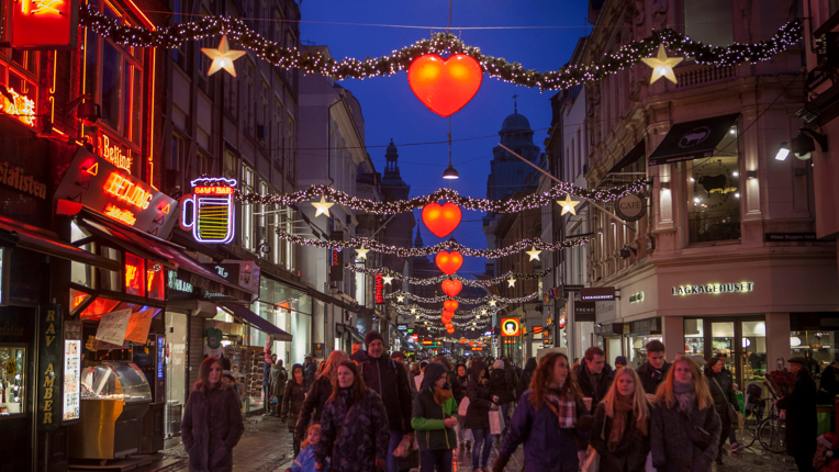 Strøget, a busy street in Copenhagen, at Christmas time
