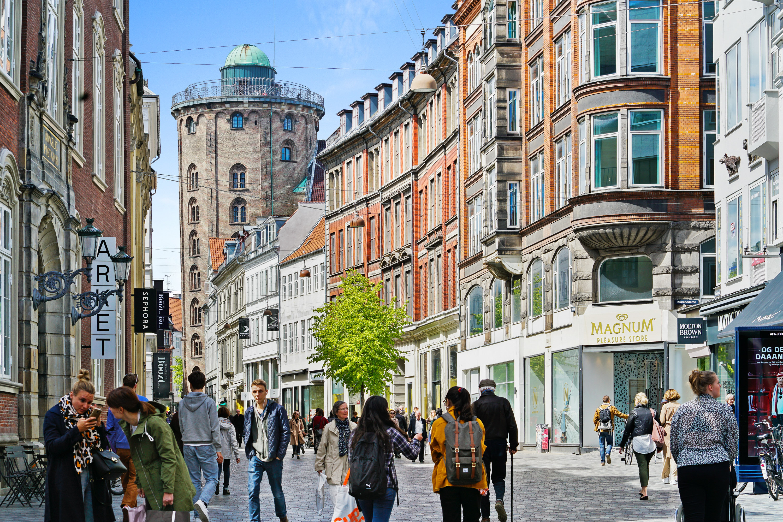 Strøget, a busy street in Downtown Copenhagen