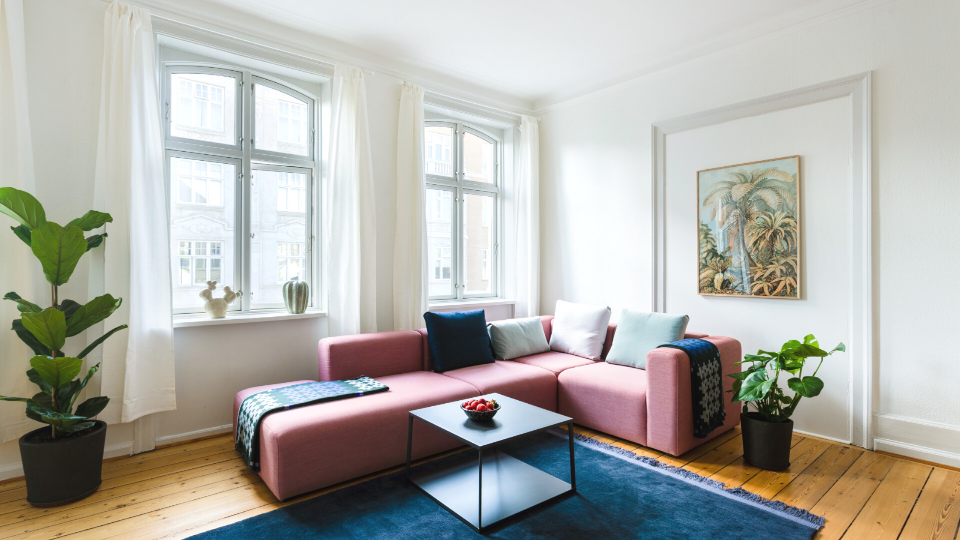 Living room of a LifeX apartment in Copenhagen
