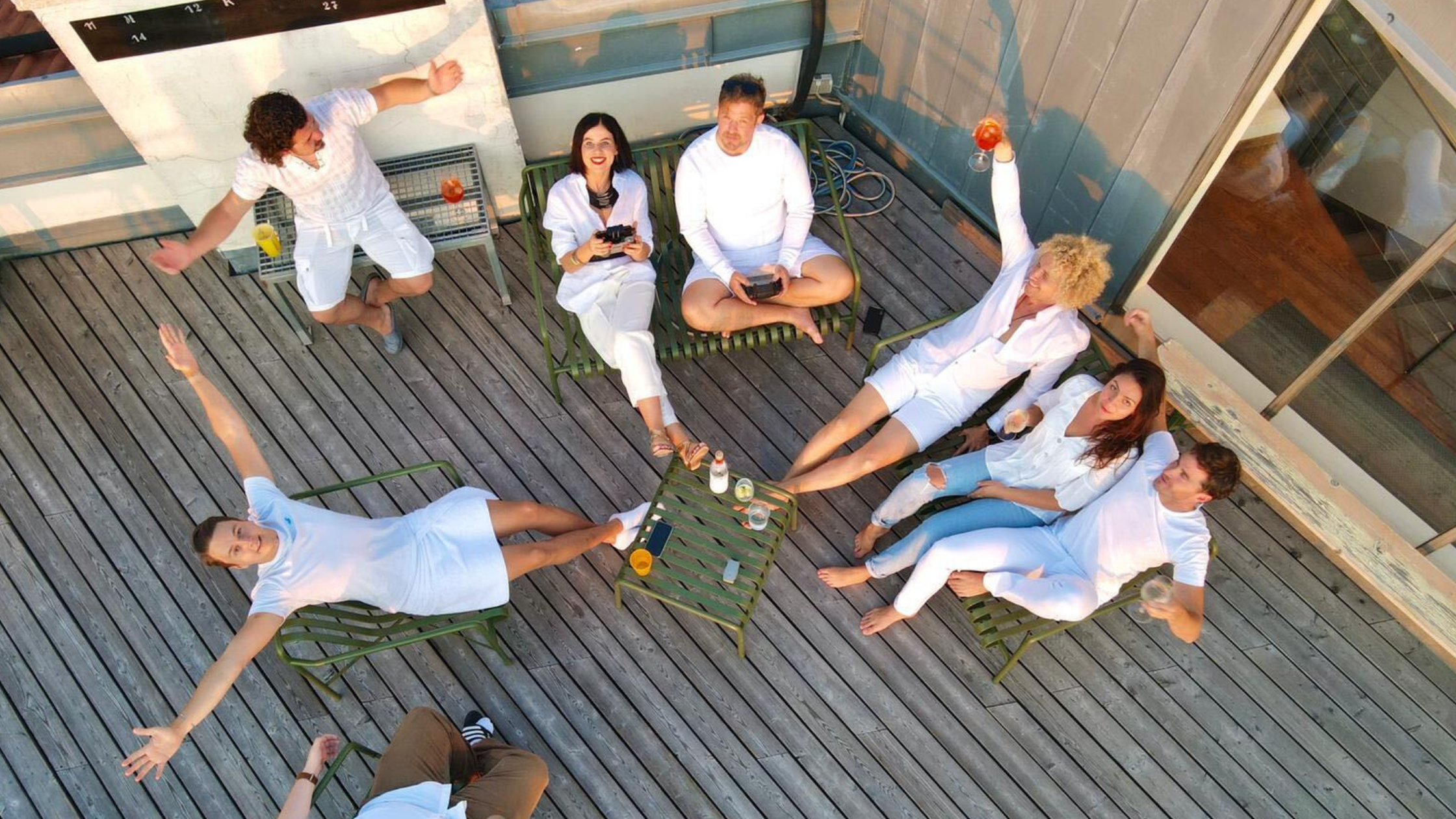 Hygge on a patio with a drone