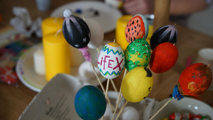 Painted easter eggs from a LifeX community event