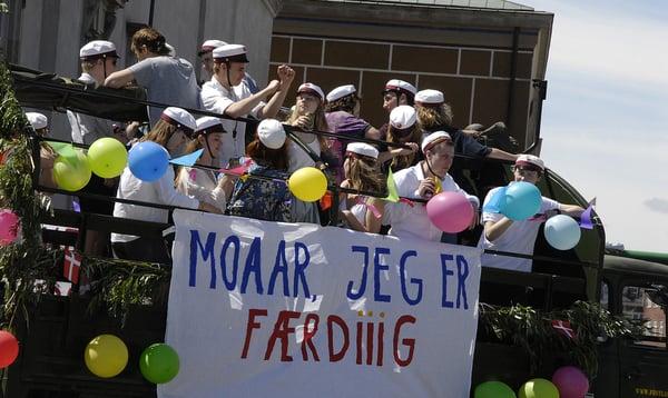 High school students celebrating their graduation in Denmark